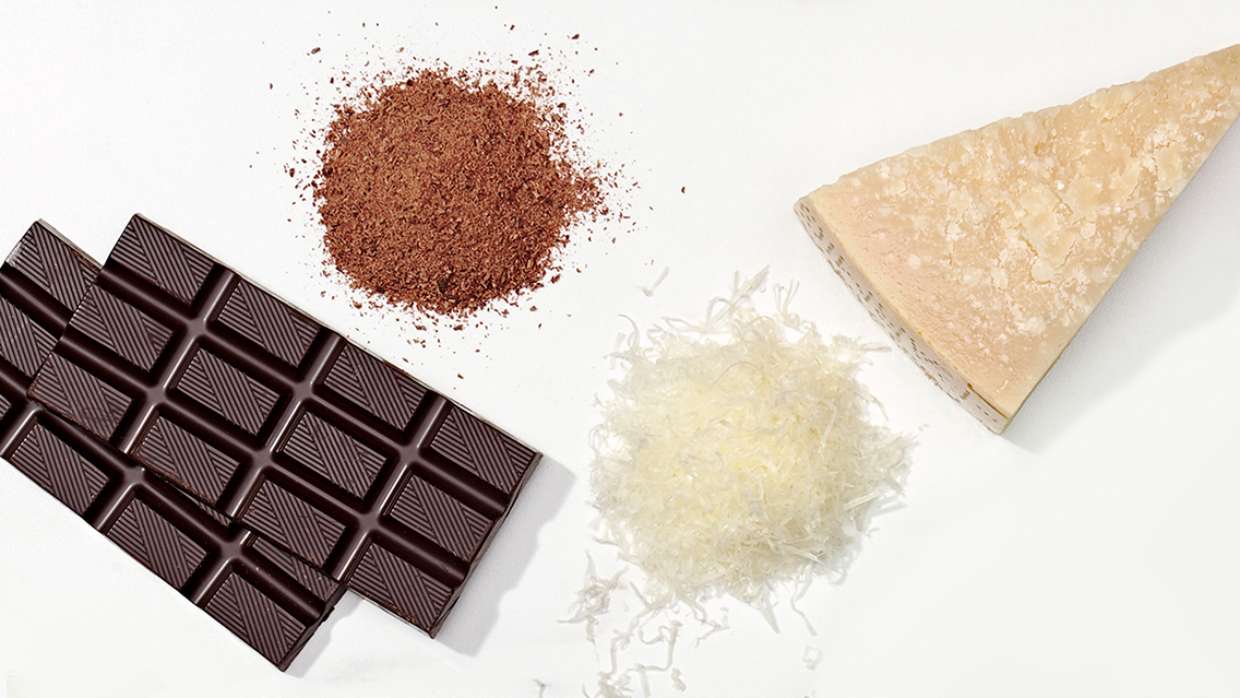 shaved chocolate and Parmesan