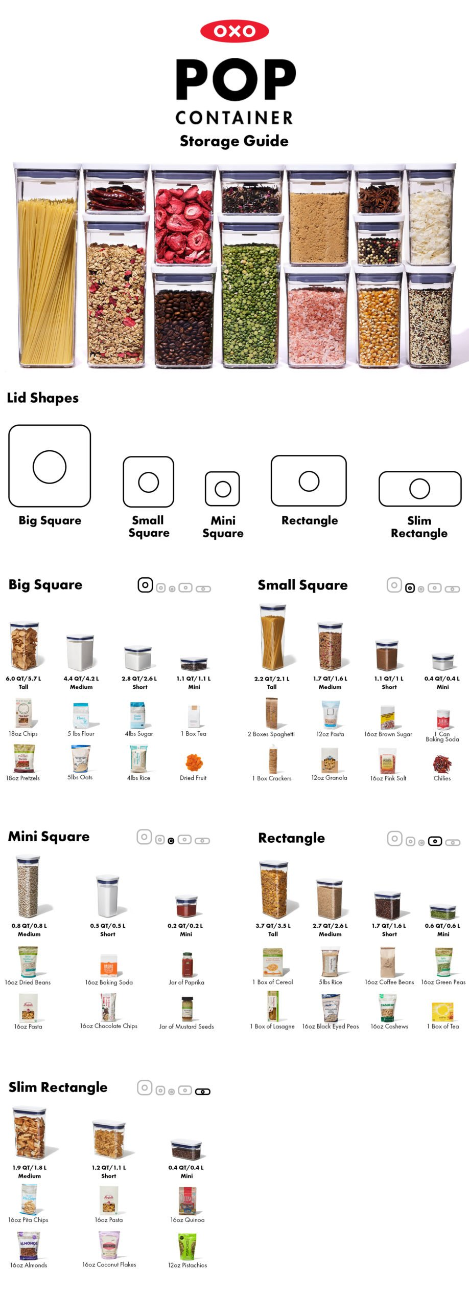 OXO size guide