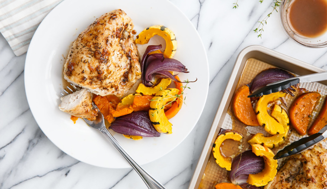 Cider-Glazed Chicken Breasts with Fall Vegetables by Love and Olive Oil