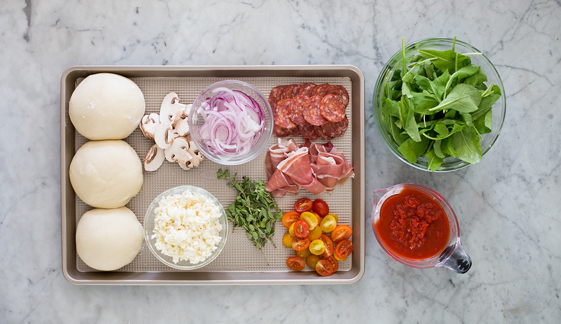 Grilled Pizza ingredients