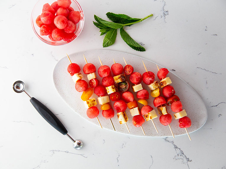 grilled watermelon and halloumi skewers