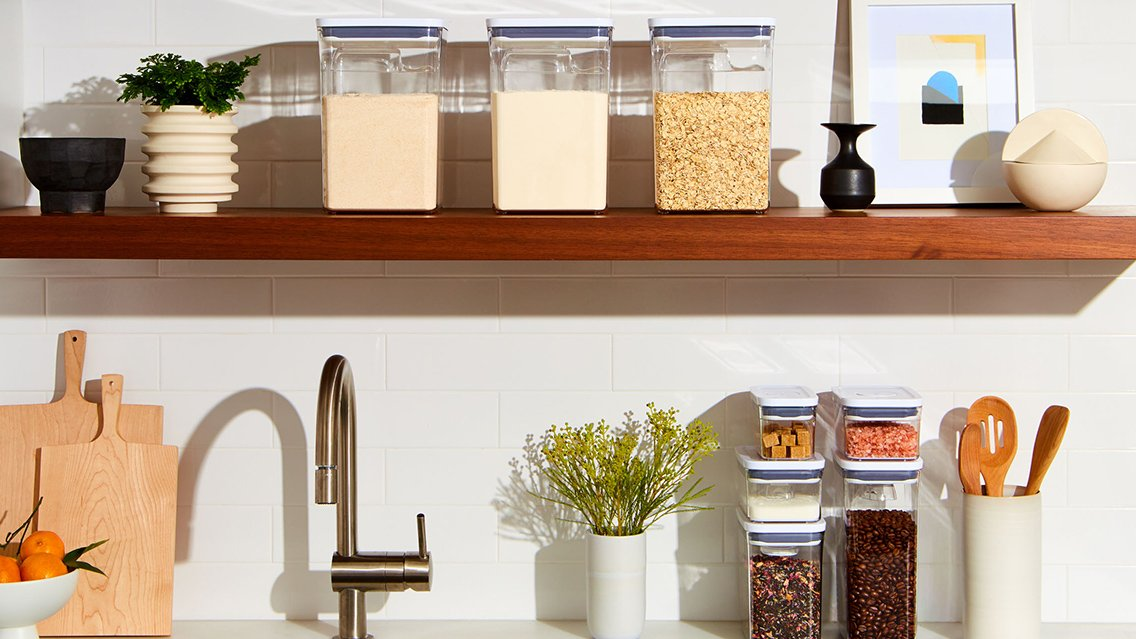 POP Containers on Open Shelf