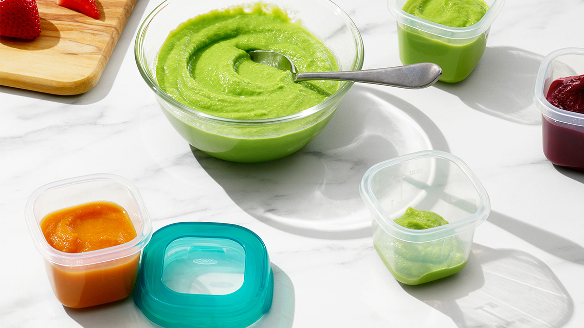 minty pea and carrot puree