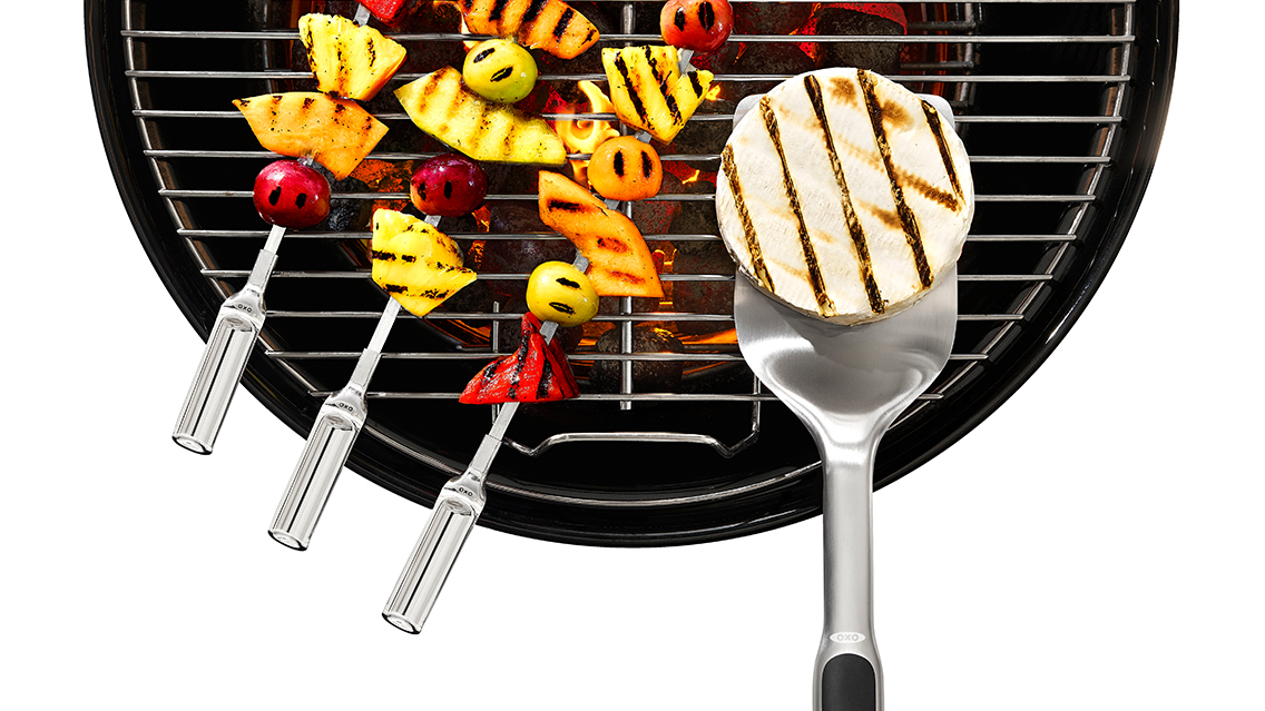 assorted foods on the grill