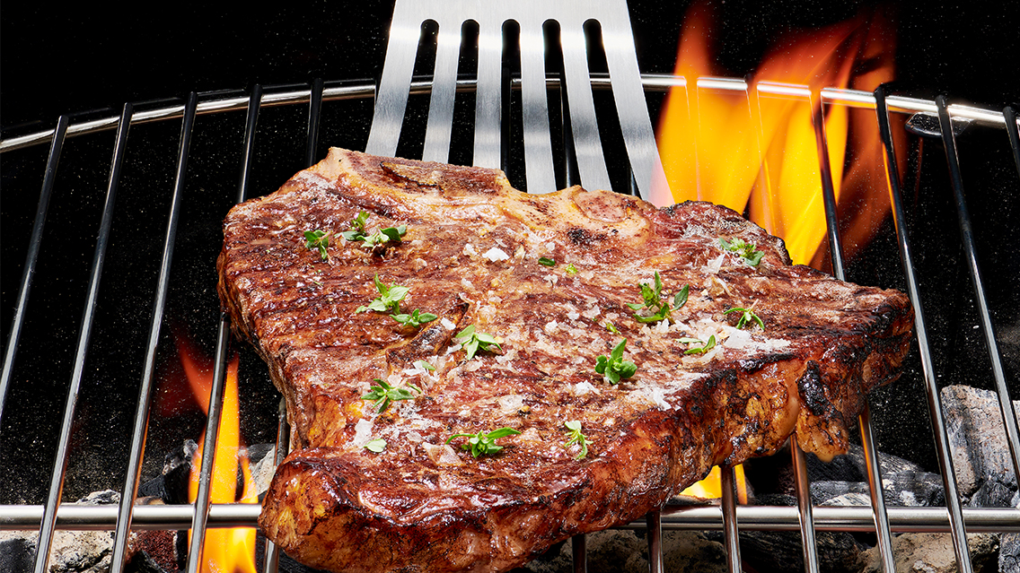 steak being cooked