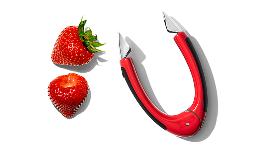 strawberries and huller
