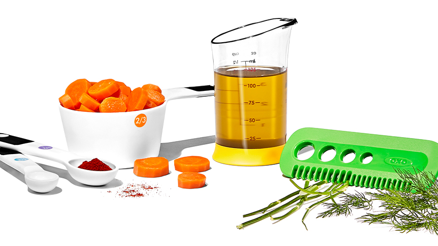 measuring cup and assorted kitchen tools