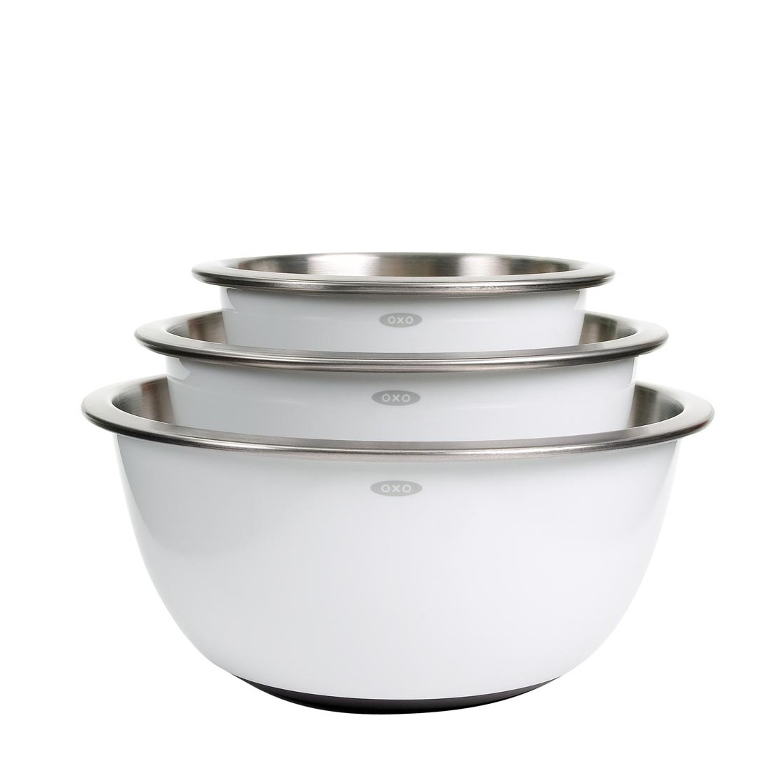 3-Piece Stainless Steel Mixing Bowl Set - White