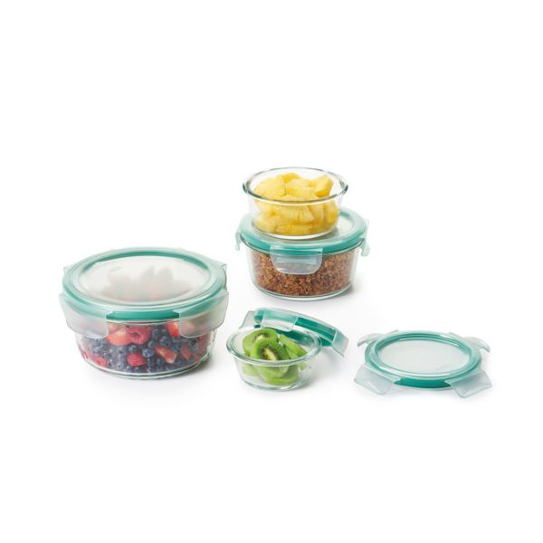 8 Piece Smart Seal Glass Round Container Set