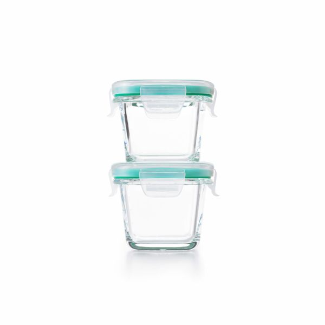 4 Piece Smart Seal Glass Mini Square Container Set