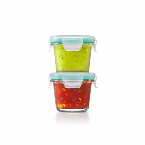 4 Piece Smart Seal Glass Mini Square Container Set