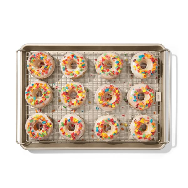 OXO Good Grips Non-Stick Pro Half Sheet and Cooling Rack Set with donuts