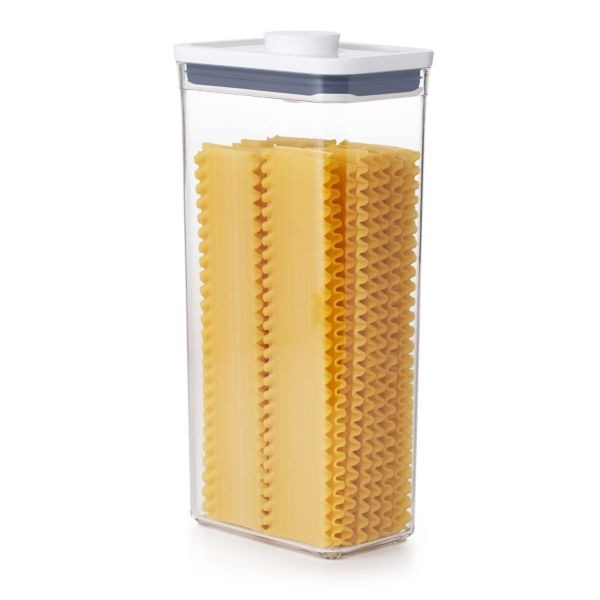 OXO POP Container, Rectangle Tall 3.7 qt. filled with a family size box of cereal
