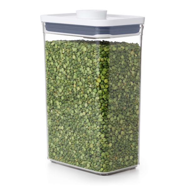 Side of OXO POP Container, Rectangle Medium 2.7 qt. filled with a 16oz bag of green split peas