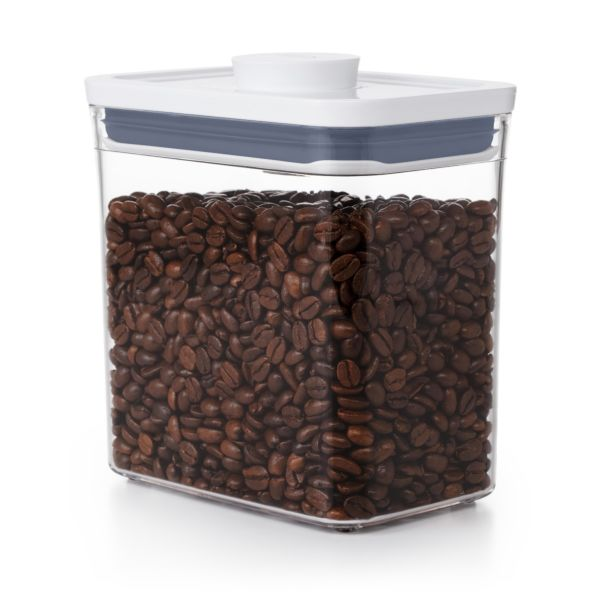 OXO POP Container Rectangle Short 1.7 Quart with coffee beans