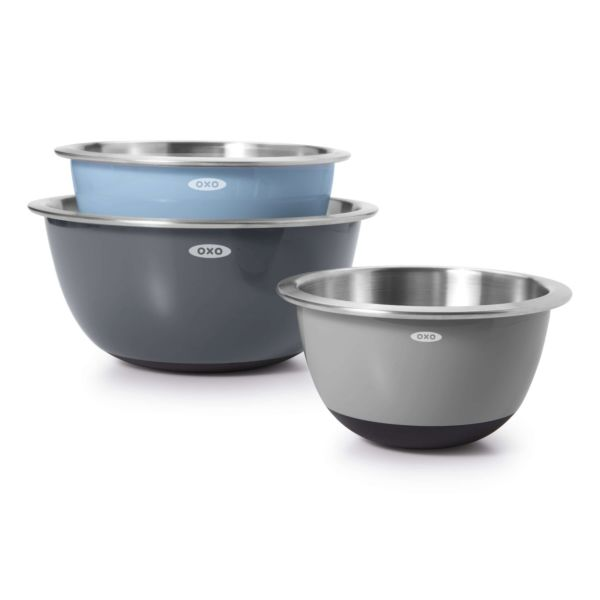 3-Piece Stainless Steel Mixing Bowl Set - Blue/Gray