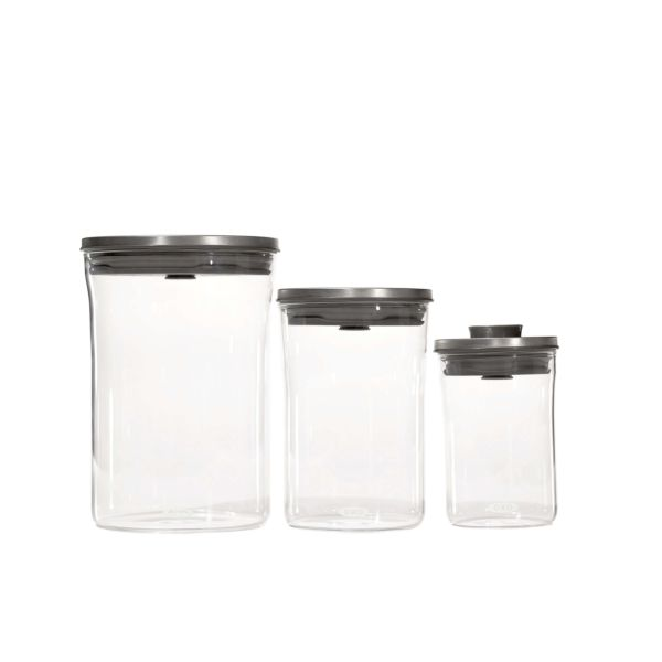 Steel 3-Piece POP Round Canister Graduated Set