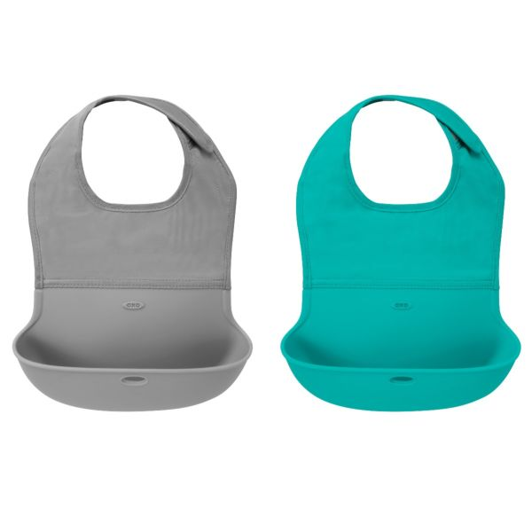 OXO Tot Roll-Up Bib - 2 Pack Gray and Teal