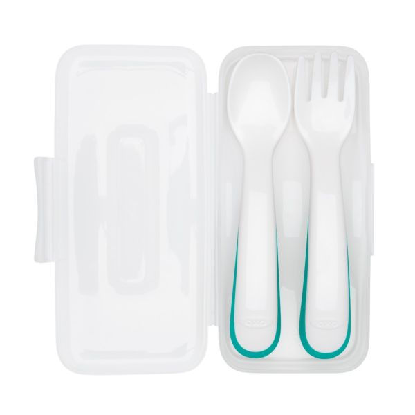 On-the-Go Plastic Fork and Spoon Set with Travel Case