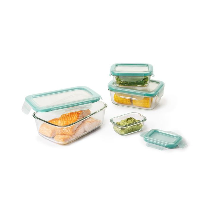 OXO Good Grips 8 Piece Smart Seal Glass Rectangle Container Set 9044