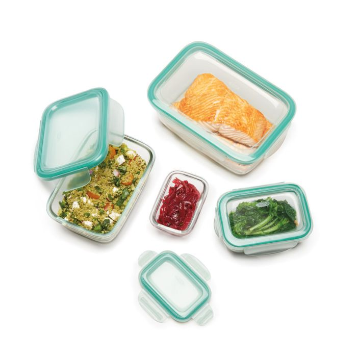 OXO Good Grips 8 Piece Smart Seal Glass Rectangle Container Set 9045