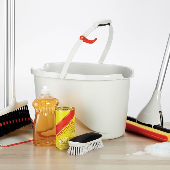 OXO Heavy Duty Scrub Brush with OXO Angled Measuring Bucket and other OXO cleaning tools