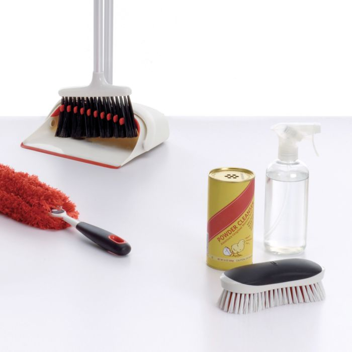 OXO Heavy Duty Scrub Brush with cleaners, Upright Sweep Set and Under Appliance Duster
