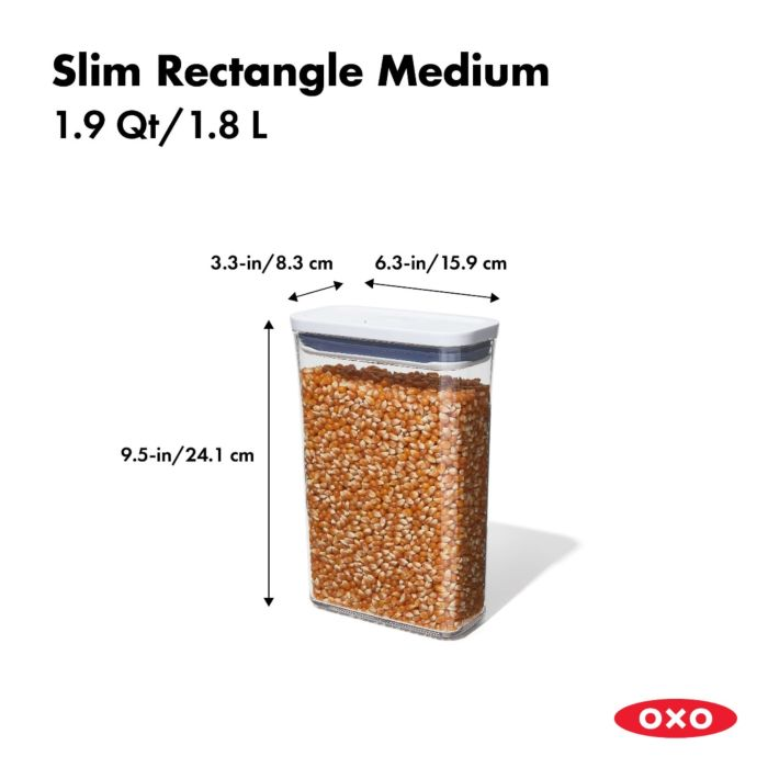 OXO POP Container, Slim Rectangle Medium 1.9 qt. 175423