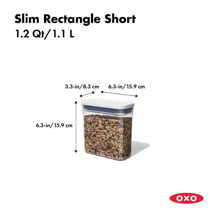 OXO POP Container, Slim Rectangle Short 1.2 qt. 175427