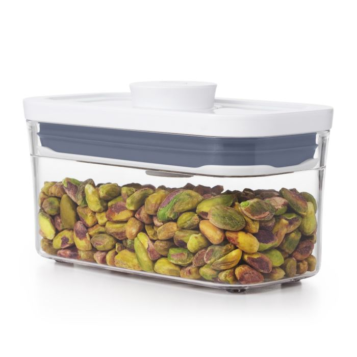 OXO POP Container, Slim Rectangle Mini 0.4 qt. with shelled pistachios