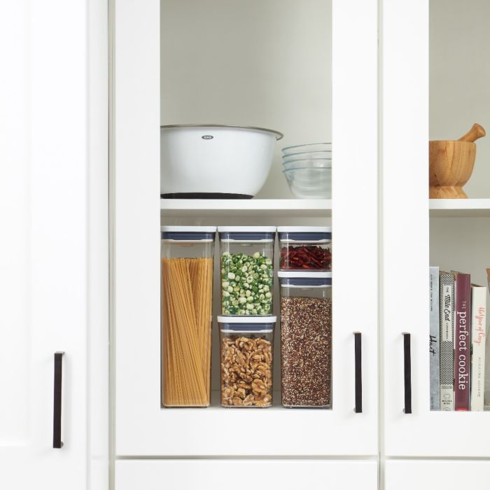 OXO 5-Piece POP Container Set behind glass pantry door