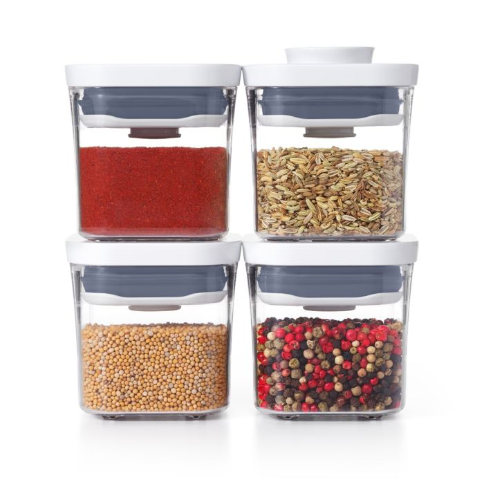 OXO Good Grips 4 Piece Mini POP Container Set filled with spices