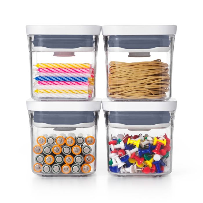 OXO Good Grips 4 Piece Mini POP Container Set filled with office supplies