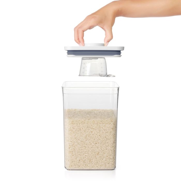 OXO POP Rice Measuring Cup on lid of POP Container filled with rice