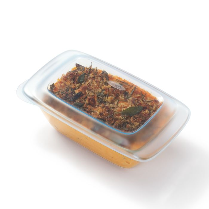Dish covered in OXO Good Grips 1 lb Loaf Pan with Lid