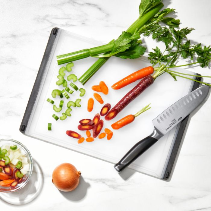 Vegetables cut on OXO Good Grips Utility Cutting Board