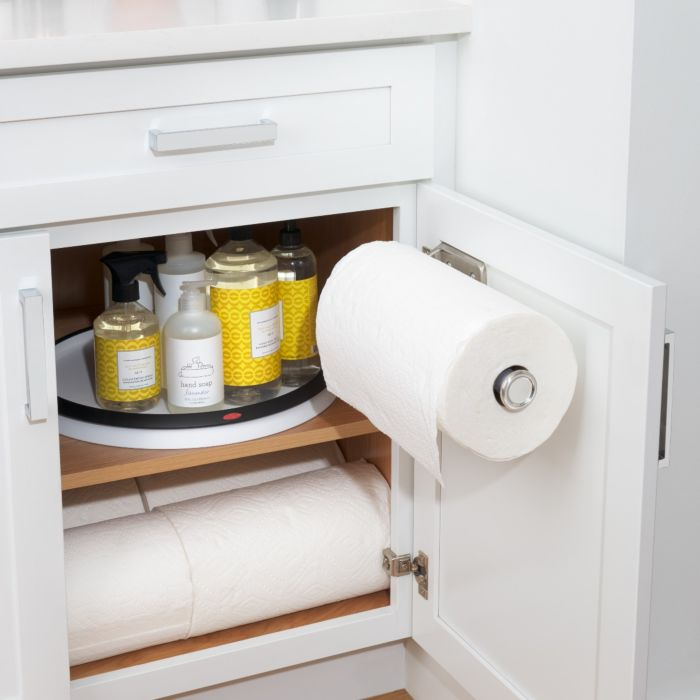 OXO Steady Mounted Paper Towel Holder installed on inside of cabinet drawer