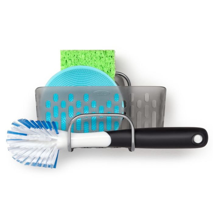 OXO Good Grips StrongHold™ Suction Sink Caddy with Dish Brush and scrubbers
