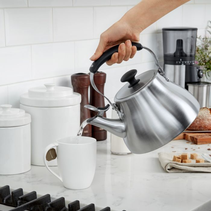 OXO Classic Tea Kettle pouring water into a mug