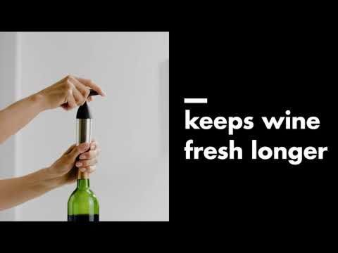SteeL Vacuum Wine Preserver And 2 Stoppers 6334