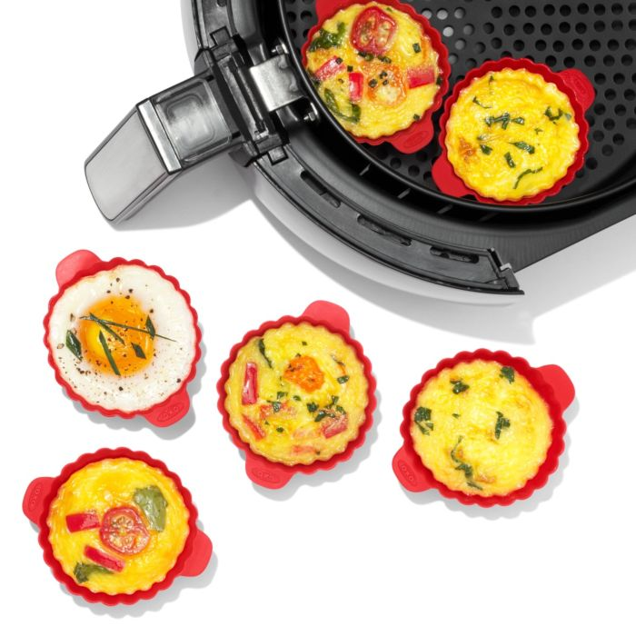 The OXO Good Grips Silicone Air Fryer Cups filled with egg bites
