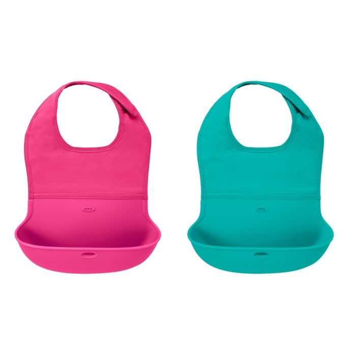 OXO Tot Roll-Up Bib - 2 Pack Teal / Pink 7603