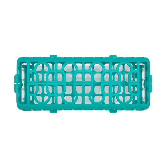 Closed overhead shot of OXO Tot Dishwasher Basket in Teal