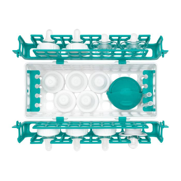 Top view of full OXO Tot Dishwasher Basket in Teal