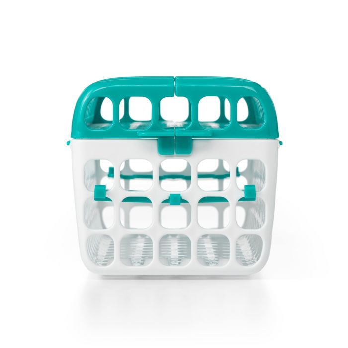 Side view of OXO Tot Dishwasher Basket in Teal