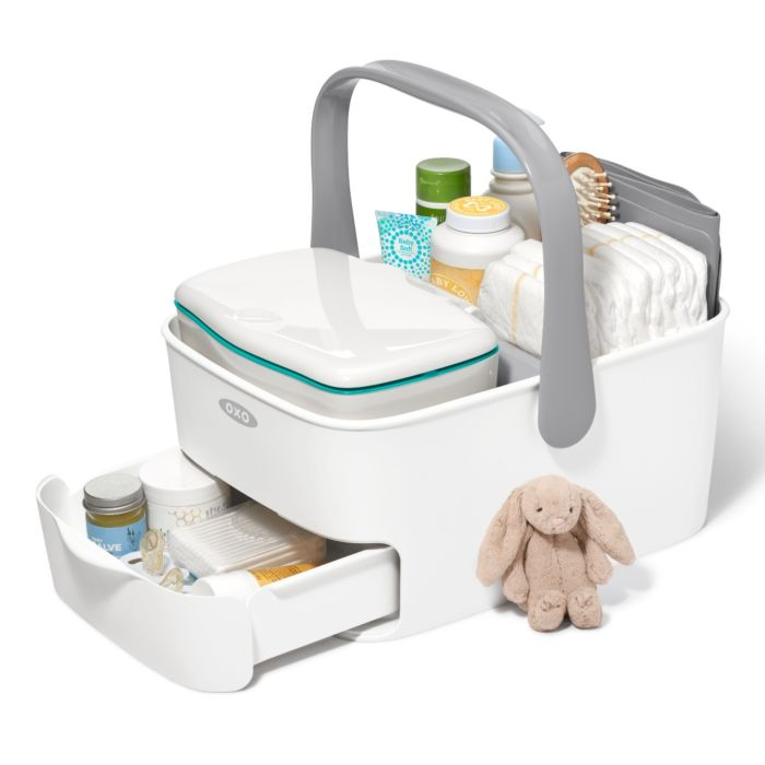 OXO Tot Diaper Caddy with Changing Mat and diaper-changing essentials