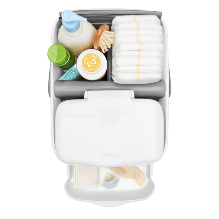 Top view of OXO Tot Diaper Caddy with Changing Mat and diaper-changing essentials
