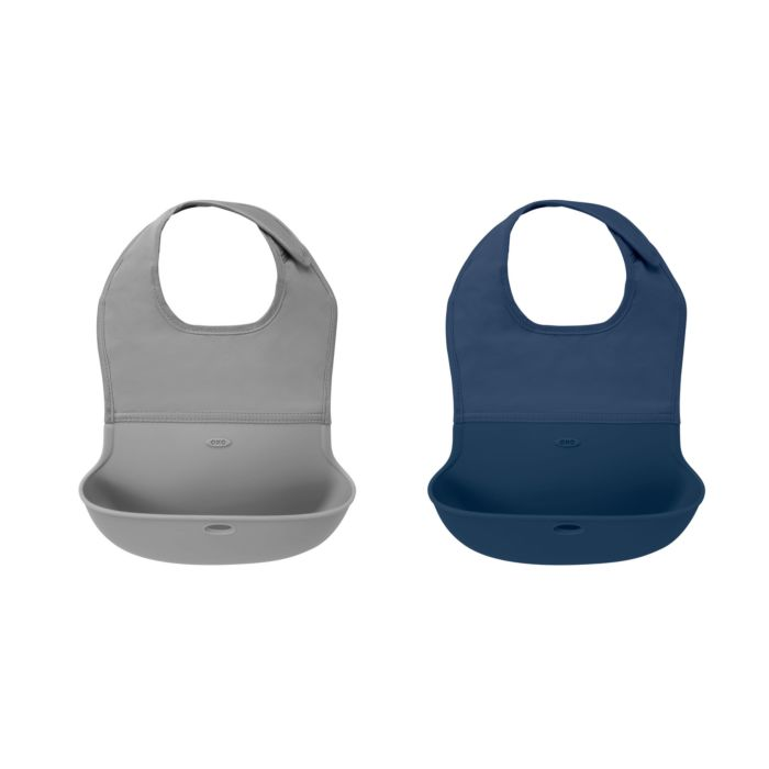 OXO Tot Roll-Up Bib - 2 Pack Gray / Navy 124800